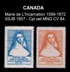 CANADA SSJB 1957 CPL SET MARIE de L'INCARNATION 1599-1672 CINDERELLA /SEAL CV $4