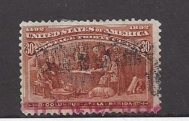 United States, 239, 30c Columbus at La Rabida Orange Brown Single, **Used**