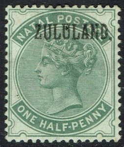 ZULULAND 1888 QV NATAL OVERPRINTED 1/2D WITH STOP