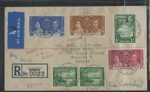 BERMUDA  (PP1302B) 1937 KGVI CORONATION SET+KGV 1/-+1/2DX2 FIRST A/M REG BLANK L