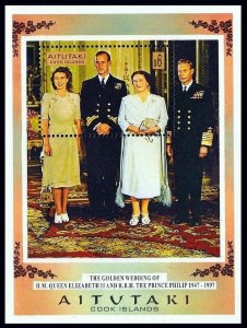AITUTAKI - 1997 - QE II - QUEEN ELIZABETH - 50th WEDDING - MINT - MNH S/SHEET!
