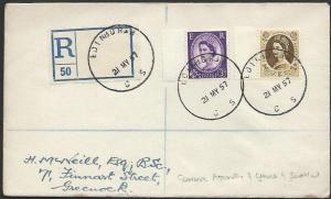 GB SCOTLAND 1957 Registered cover EDINBURGH / CS skeleton cds..............53370