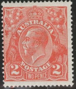 Australia Scott 28 MH*  perf 14, wmk 9, Red 1922 KGV