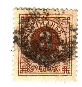 Sweden Sc  41 1887 3 ore stamp with posthorn on back used