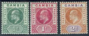 GAMBIA 1902 KEVII 1/2D 1D AND 2D WMK CROWN CA