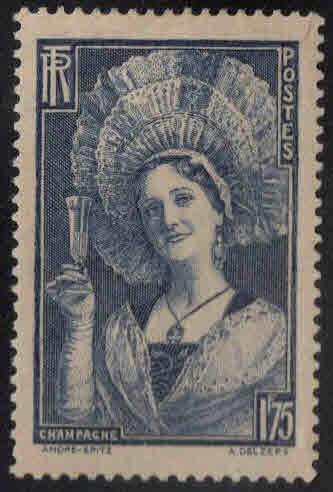 France Scott 350 MH*  Champagne Region costume stamp 1938 slight thin