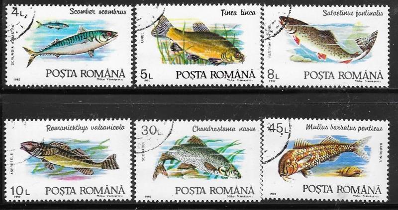 Romania #3728-3733   Fish set complete (U) CV $1.50