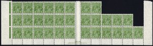 Australia SG125 1d Green Wmk C of A U/M Gutter Block of 31