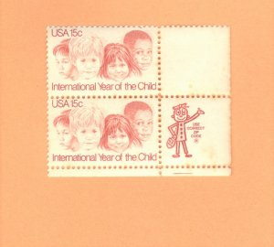 USA  SCOTT #1772  MNH 1979 ZIP BLOCK OF 2  YR OF THE CHILD  SEE SCAN