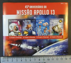 St Thomas 2015 apollo 13 mission space lovell swigert haise rockets m/sheet