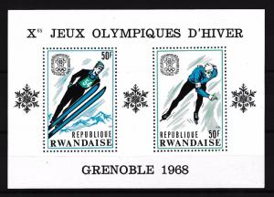 [61091] Rwanda 1968 Olympic games Grenoble Ski jumping Skating MNH Sheet