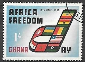 Ghana 1960 Africa Freedom Day, 1sh, used, Scott #77
