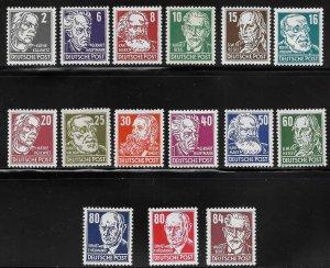 Germany DDR - Scott #122-136 - F- VF - Mint Never Hinged (NH)
