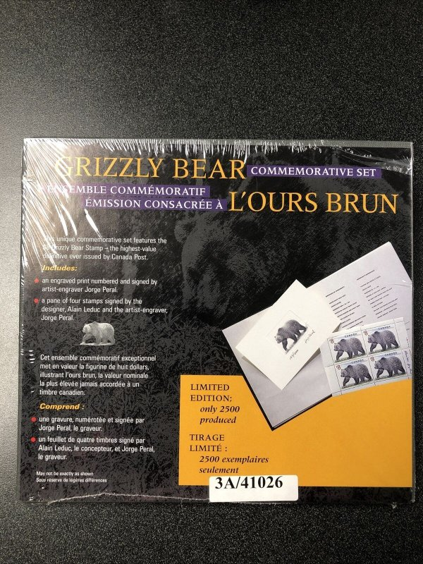 Canada Grizzly Bear Commemorative Set Signed By Artist- Engraver Jorge Peral.