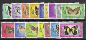 Norfolk Island 201-17   1976  set butterflies - 210