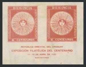 Uruguay 411 pair,hinged.Michel 447. El Sol de Mayo 1931.Sold at PhilEXPO.