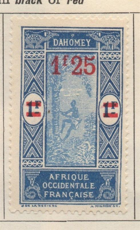 FRENCH COLONY  DAHOMEY;  1924 early surcharged issue Mint hinged 1.25Fr. value