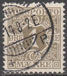 Denmark #P1 F-VF Used CV $4.00 (D4372)