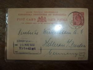 Tanganyika 1932 PC to Germany with message, scarce (41bea)