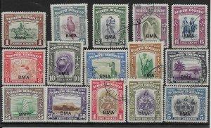 NORTH BORNEO SG320/34 1945 BMA OVERPRINT SET USED
