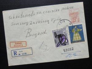 Yugoslavia 1964 Uprated Registered Postal Stationery from Serbia to Croatia  A3