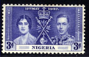 Nigeria 1937 KGV1 3d Blue Coronation MM SG 48  ( A996 )