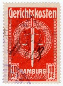 (I.B) Germany Revenue : Hamburg Court Fees 10pf (large format)
