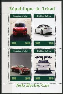 Chad 2019 MNH Tesla Electric Cars 4v M/S Transport Stamps