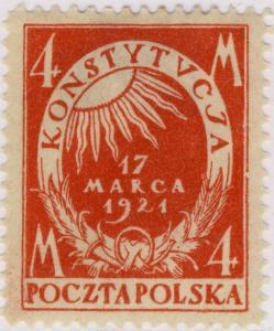 POLOGNE / POLAND - 1921 - Mi.166a p.11 1/2 4M Orange-Red - Mint*