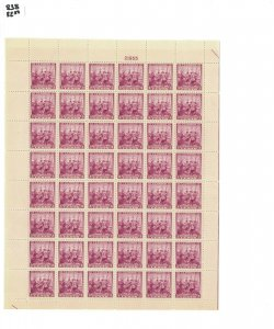 1938 United States Postage Stamp #836 Plate No. 21955 Mint Full Sheet
