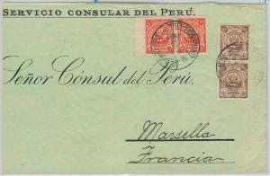 PERU  -  POSTAL HISTORY -   COVER to FRANCE  1914
