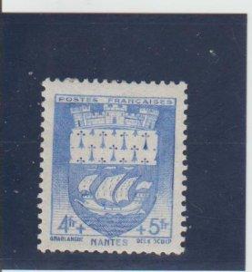 France  Scott#  B144  MH  (1942 Arms of Nantes)