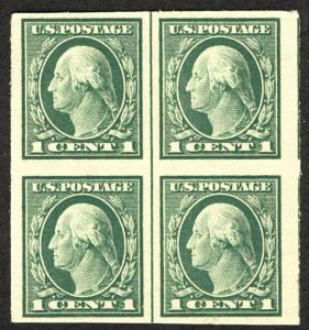 US #408 VF/XF Block with line, mint never hinged, VERY NICE and FRESH!