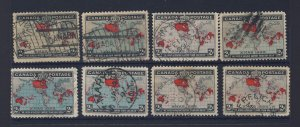 8x 1898 Xmas Map Used Stamps Assorted #85 & #86 F/VF Guide Value = $75.00