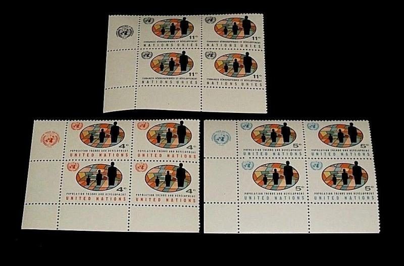 U.N. 1967,NEW YORK #151-153, WORLD POPULATION. MNH, INSC. BLKS/4, NICE! LQQK!