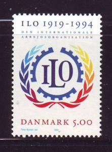 Denmark  Scott 1011 1994 75th Anniversary ILO stamp mint NH