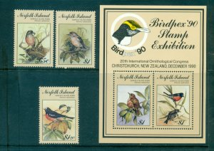 Norfolk Is. - Sc# 497-500. 1990 Birds.. MNH Set & Souv. Sheet. $14.00..