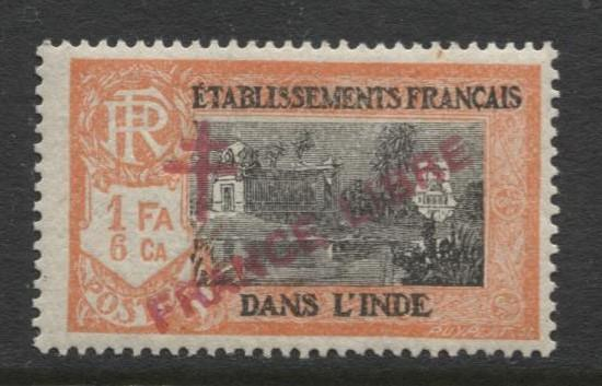 French India - Scott 166 -Overprint Libre Issue-1942 MVLH- Single 1f 6ca Stamp