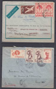 Madagascar (4) airmail covers to France or Algeria, 1944-1956