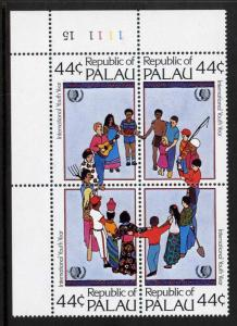 Palau 89a TL Plate Block MNH International Youth Year, Music