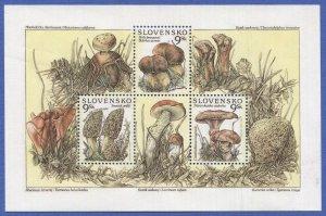 SLOVAKIA 1997 Sc 283a VF MNH Nature - Mushrooms Souvenir Sheet of Four