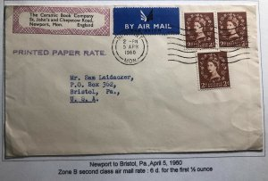 1960 Newport England Ceramic Book Co Airmail Cover To Bristol Pa Usa