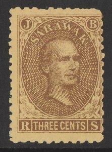 SARAWAK 1869 Brooke 3c brown on yellow (left pane pos.40).