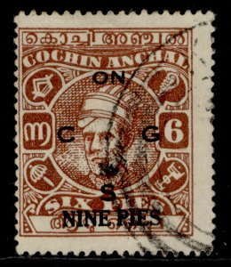 INDIAN STATES - Cochin GVI SG O77, 9p on 6p, FINE USED.