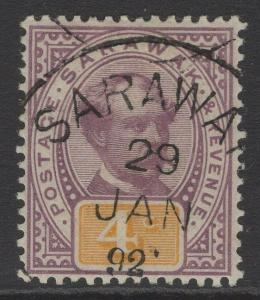SARAWAK SG11 1888 4c PURPLE & YELLOW FINE USED