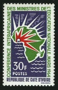 Ivory Coast 212,MNH.Michel 265. African Conference  of Education,1964.Map.