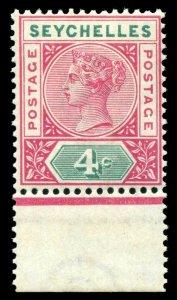 Seychelles 1890 QV 4c carmine & green superb MNH. SG 2. Sc 4a.
