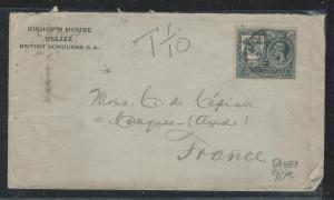 BRITISH HONDURAS (P1106B) 1924  KGV 4C COVER TAXED 1/10 TO FRANCE