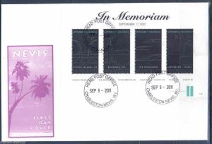 NEVIS 10th ANNIVERSARY OF SEPTEMBER 11th, 2001 SHEET  FDC