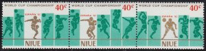 Niue 1981 MNH Sc #345 Strip of 3 40c Soccer players World Cup 82